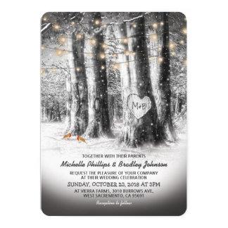 Rustic Winter Tree & String Lights Wedding 13 Cm X 18 Cm Invitation Card