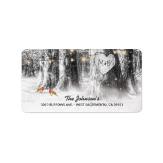 Rustic Winter Tree & String Lights Wedding Address Label
