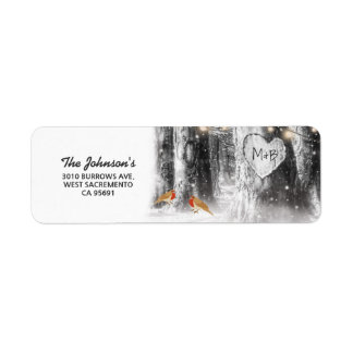 Rustic Winter Tree & String Lights Wedding Return Address Label