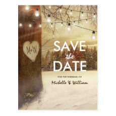 Rustic Winter Tree Twinkle Lights Save the Date