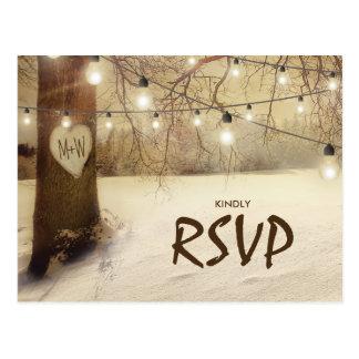 Rustic Winter Tree Twinkle Lights Wedding RSVP Postcard