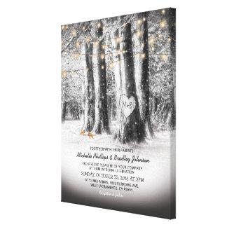 Rustic Winter Tree Wedding Invitation Keepsake Canvas Print