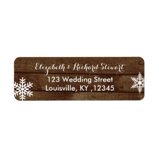 Rustic Winter Wedding Barn Wood Snowflakes Return Address Label