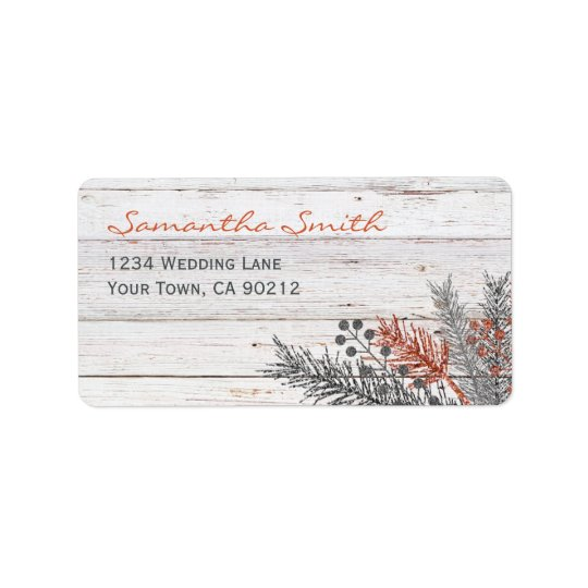 Rustic Winter Whitewashed Wood Wedding Label