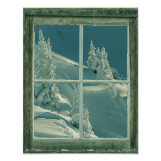 Rustic Winter Window Wonderland Poster