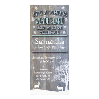 Rustic Winter Wonderland Birthday Invitation