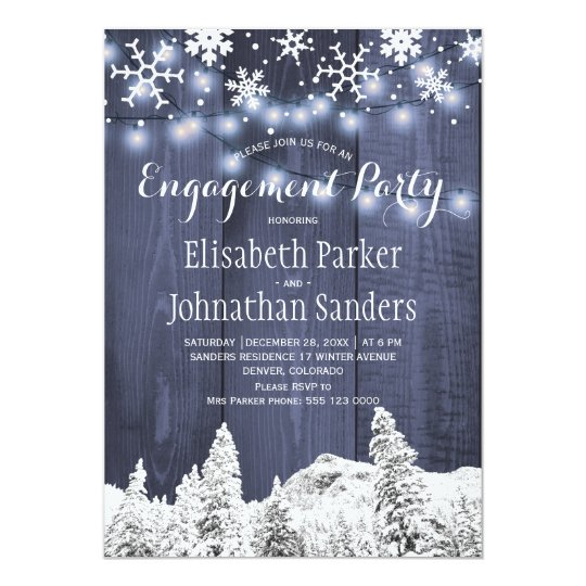 Rustic winter wonderland engagement party card