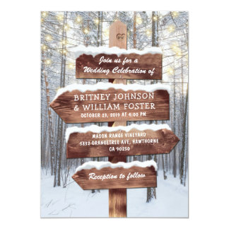 Rustic Winter Wonderland Woodland Lights Wedding Card