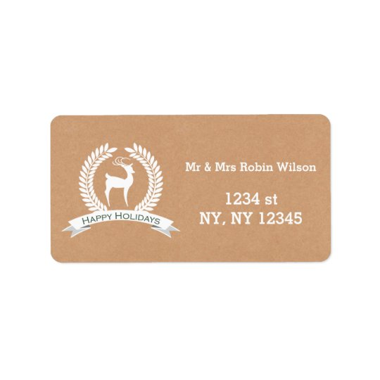 Rustic winter woodland deer Holiday labels