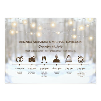 Rustic Winter Woodland Wedding Day Timeline Card