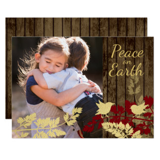 Rustic Wood and Birds Holiday Photo 13 Cm X 18 Cm Invitation Card
