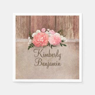 Rustic Wood and Burlap Floral Barn Wedding Paper Napkin