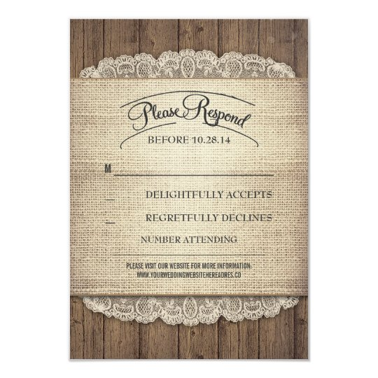 Rustic wood and burlap lace wedding RSVP cards
