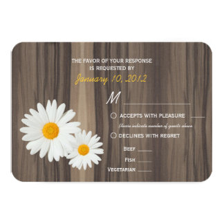 Rustic Wood and Daisies RSVP with Meal Options 9 Cm X 13 Cm Invitation Card