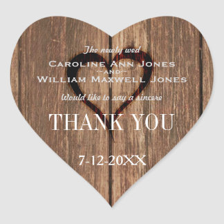 Rustic Wood and Engraved Heart Thank You Sticker