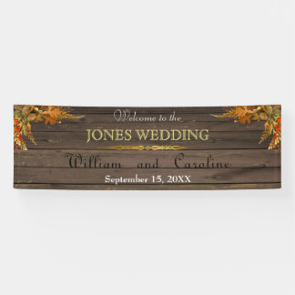Rustic Wood and Gold Wedding Banner