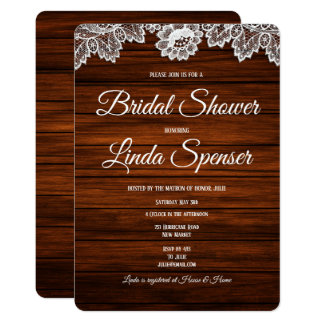 Rustic Wood and Lace Bridal Shower  Invitation