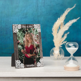 Rustic Wood and Lace Class of 2018 Photo Plaque