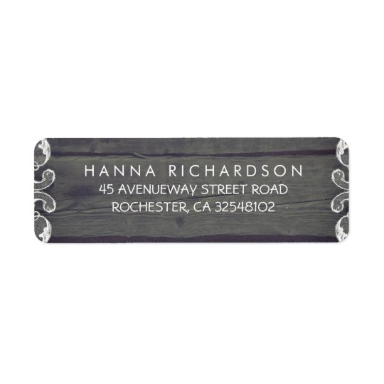 Rustic Wood and Lace Edge Wedding Return Address Label