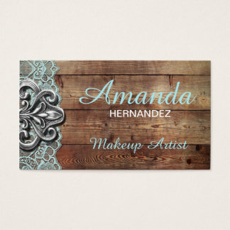 Rustic Wood and Lace Makeup Artist Business Card