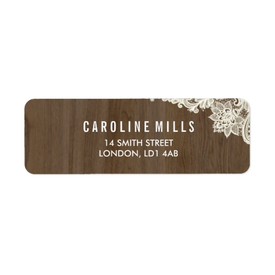 Rustic Wood and Lace Return Address Labels