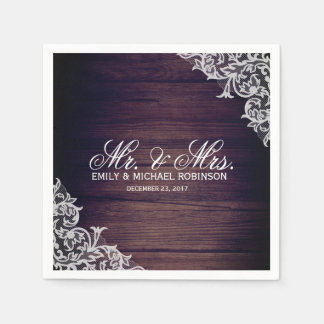 Rustic wood and lace wedding disposable serviette