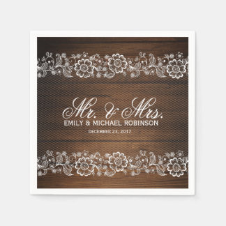 Rustic wood and lace wedding paper napkin
