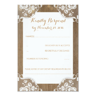 Rustic Wood and Lace Wedding RSVP Card