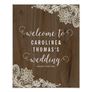 Rustic Wood and Lace Welcome Sign Poster