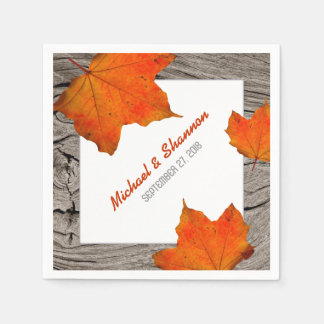 Rustic Wood and Leaves Fall Wedding Paper Napkins Disposable Serviette