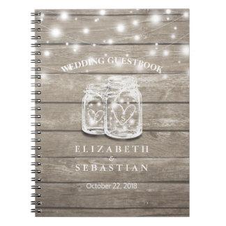 Rustic Wood and Mason Jar Lights Wedding Guestbook Notebook