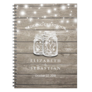 Rustic Wood and Mason Jar Lights Wedding Guestbook Notebooks