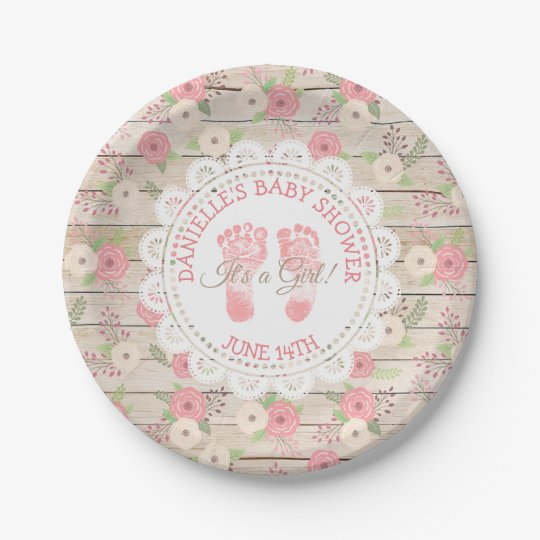 Rustic Wood and Pink Flowers cake  Paper Plates