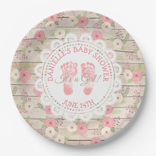 Rustic Wood and Pink Flowers Paper Plates