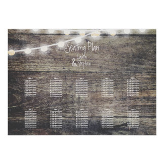 Rustic wood and string light table seating chart2 poster