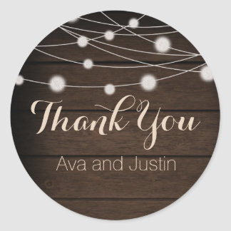 Rustic Wood and String Light Thank You Seal