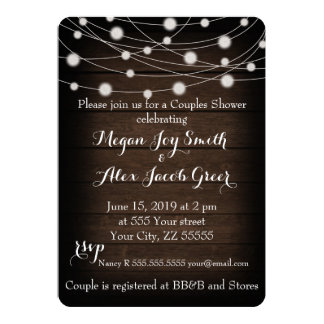 Rustic Wood and String Lights Couples Shower 13 Cm X 18 Cm Invitation Card