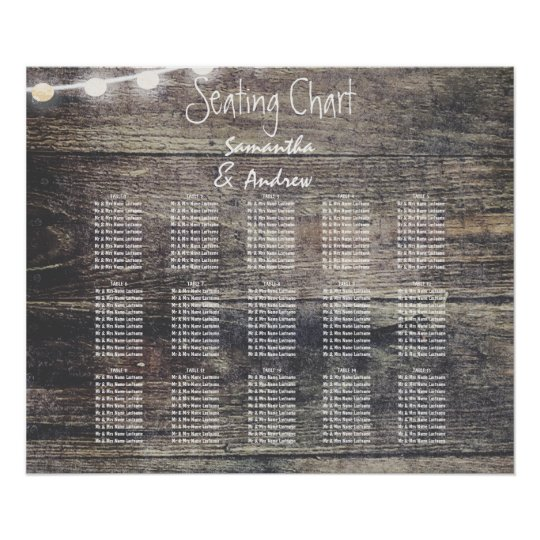 Rustic wood and string lights table seating chart
