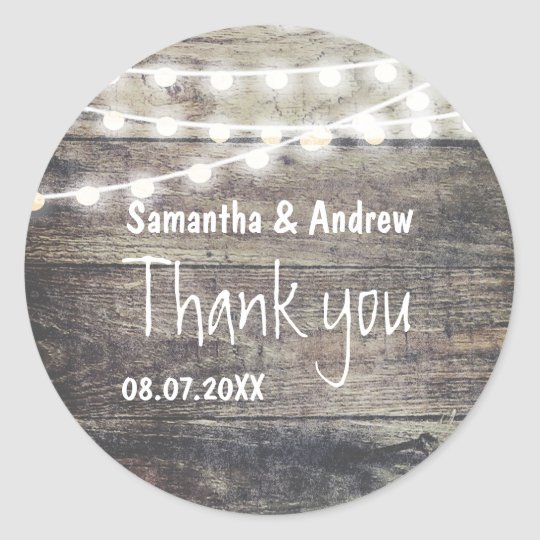 Rustic wood and string lights wedding Thank you