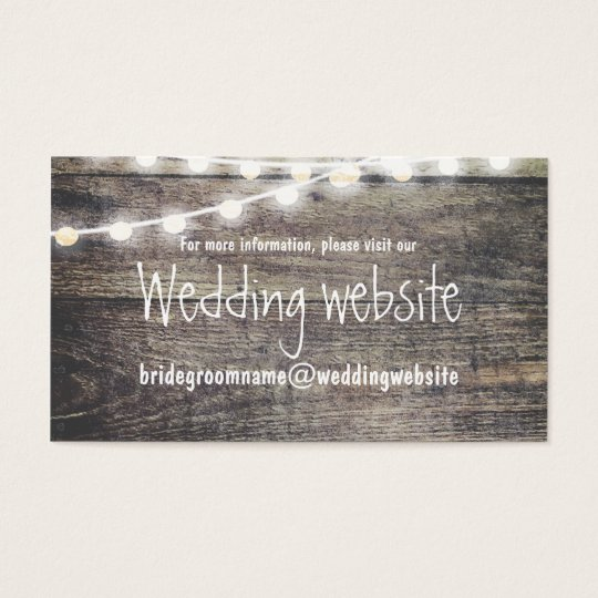 Rustic wood and string lights wedding website business