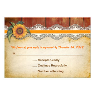 rustic wood and sunflower wedding rsvp personalized announcements