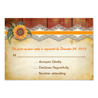 "rustic wood and sunflower wedding rsvp 3.5"" x 5"" invitation card"