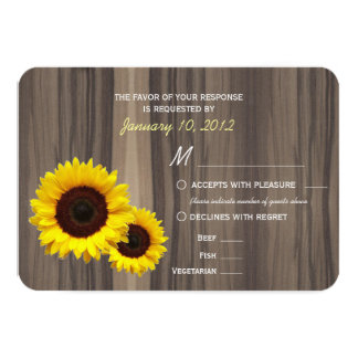 Rustic Wood and Sunflowers RSVP with Meal Options 9 Cm X 13 Cm Invitation Card