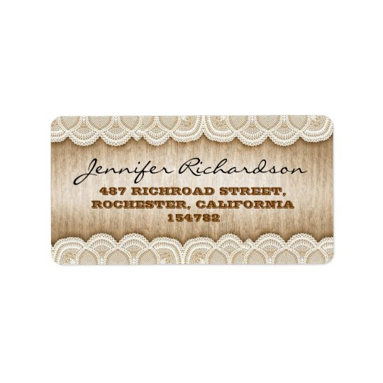 rustic wood and white lace wedding labels