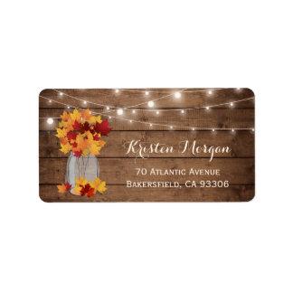 Rustic Wood Autumn Leaves Mason Jar Lights Wedding Address Label