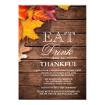 Rustic Wood Autumn Maple Thanksgiving Dinner Party 13 Cm X 18 Cm Invitation Card
