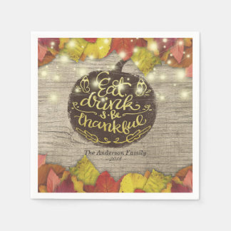 Rustic Wood Autumn Maple Thanksgiving Dinner Party Disposable Napkin