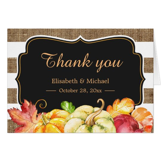 Rustic Wood Autumn Pumpkin Leaves Thank You Card