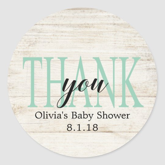 Rustic Wood Baby Shower Favour Tag, Mint Green Classic Round Sticker