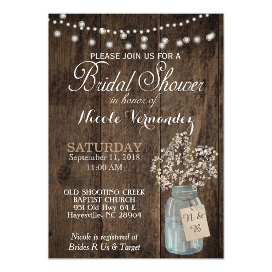 Rustic Wood Baby's Breath Bridal Shower Invitation